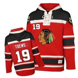 Chicago Blackhawks Jonathan Toews Official Red Old Time Hockey Premier Youth Sawyer Hooded Sweatshirt Jersey