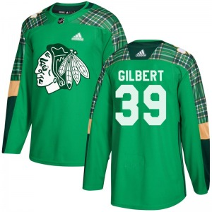 Youth Authentic Chicago Blackhawks Dennis Gilbert Green St. Patrick's Day Practice Official Adidas Jersey
