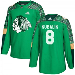 Youth Authentic Chicago Blackhawks Dominik Kubalik Green St. Patrick's Day Practice Official Adidas Jersey