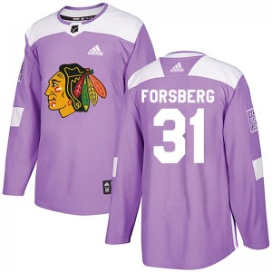 Youth Authentic Chicago Blackhawks Anton Forsberg Purple Fights Cancer Practice Official Adidas Jersey