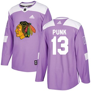 Youth Authentic Chicago Blackhawks CM Punk Purple Fights Cancer Practice Official Adidas Jersey