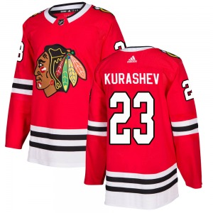 Adult Authentic Chicago Blackhawks Philipp Kurashev Red Home Official Adidas Jersey